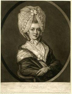 Portrait of Catherine Frederick seated half-length to right within oval frame, her gloved hands crossed, eyes to front, wearing cape and large cap trimmed with lace and ribbons over her full hair; proof before letters, but with scratched inscription.  24 June 1777 Mezzotint British Museum 1888,0515.73
