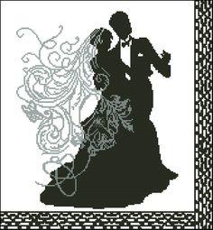 Wedding dance-free cross-stitch pattern Pattern Name: Wedding dance Fabric: Aida White X Stitches Size(s): 14 Count, X cm 11 Count, Cross Stich Patterns Free, Wedding Cross Stitch Patterns, Cross Stitch Designs, Free Pattern, Wedding Silhouette, Cross Stitching, Free Crochet, Embroidery Designs, Needlework