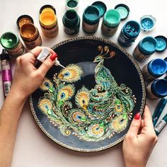 Interview: Artist Quits Day Job to Pursue Passion for Beautifully Quilled Paper Art – paper quilling craft tutorial 8 for diwali festival…diy easy paper leaves tutorial hungry hearttissue paper marigolds Peacock Painting, Dot Art Painting, Mandala Painting, Pottery Painting, Ceramic Painting, Point Paint, Quilled Paper Art, Mandala Dots, Mandala Pattern