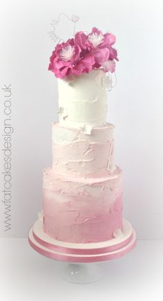 pink wedding cake,-I'd add the Bride & Groom to the top instead of the flowers, but I love the ombre effect.