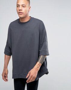 ASOS   ASOS Extreme Oversized Slouchy T-Shirt With Curved Hem In Ebony