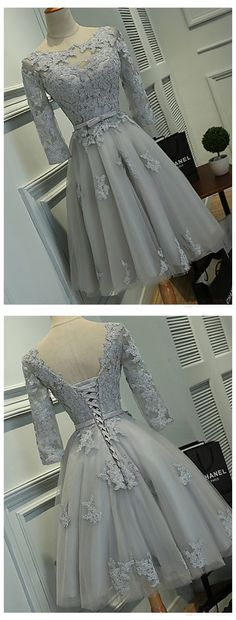 Lace Homecoming Dresses, Long Sleeve Homecoming Dresses, Vantage