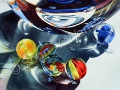 Original Watercolor Painting - Marbles - Watercolor by Soon Y Warren