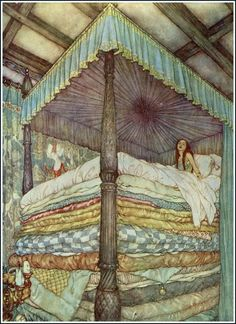 Tumblr - The Princess and the Pea illustration by Edmund Dulac - I know this exact image from a storybook in my childhood...an illustration that made me feel her sensitivity!