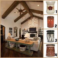 Let's play interior designer!! Which warmer would YOU choose for this living room?? I know which one gets my pick!  1. Roselyn   2. Mission Oak  3. Zebra   4. Boho Chic