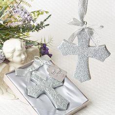 Silver Glitter Design Cross Ornament