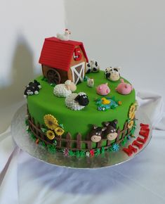 Farm Animal Themed Birthday Cake | by Willi Probst Bakery Farm Birthday Cakes, Animal Birthday Cakes, Farm Animal Birthday, Animal Cakes, 2nd Birthday, Mcdonalds Birthday Party, Cake Designs For Kids, Farm Animal Cupcakes, Cuisines Diy