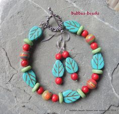 Turquoise and howlite bracelet and earring set. www.facebook.com/bubbasbeads