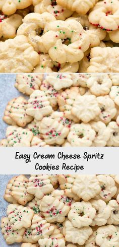 Easy Cream Cheese Spritz Cookies Recipe – made with a cookie press, soft, buttery, sweet and delicious! Very easy to make with minimal effort, perfect for the holidays or a party! Egg Free Cookies, Honey Cookies, Spritz Cookies, Sprinkle Cookies, Molasses Cookies, Drop Cookies, Chocolate Cookies, Cream Cheese Spritz Cookie Recipe, Cokies Recipes