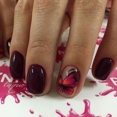 Autumn nails with a pattern Beautiful nails 2017 Butterflies on short nails Butterfly nail art Fall nail ideas Fall short nails Festive nails with a butterfly Maroon nails Maroon Nails, Burgundy Nails, Dark Nails, Purple Nail, Dark Purple, Nail Art Design Gallery, Best Nail Art Designs, Fall Nail Designs, Design Art