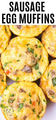 Sausage and Egg Muffins are an easy breakfast idea that you can make ahead for when you are on the go. Eggs, sausage, veggies and cheese are cooked in a muffin tin to create delicious and convenient egg cups. Healthy Egg Breakfast, Breakfast Dishes, Healthy Egg Muffin Cups, Breakfast In Muffin Tins, Muffin Tin Eggs, Breakfast Egg Muffins, Breakfast Egg Recipes, Breakfast Ideas With Eggs, Veggie Egg Muffins