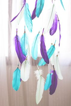 PEACOCK - Purple Blue Mint Feather Mobile Gold Boho Bohemian Baby Tribal Crib Nursery Baby Dreamcatcher Boy Girl by TheDreamBarn on Etsy https://www.etsy.com/listing/290935585/peacock-purple-blue-mint-feather-mobile