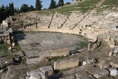 The Theatre of Dionysus Eleuthereus is a major theatre in Athens, built at the foot of the Athenian Acropolis. Dedicated to Dionysus, the god of plays and wine (among other things), the theatre could seat as many as 17,000 people with excellent acoustics, making it an ideal location for ancient Athens' biggest theatrical celebration, the Dionysia.