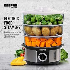 Geepas Food Steamer 12L Capacity | 3 Tiers BPA Free Removable | 75 Minutes Timer & 1000W Power | Stainless Steel Housing | Makes Healthy Food, Meat, Fish & Vegetable Steam | Electric - 2 Year Warranty--38.99 Diet Recipes, Cooking Recipes, Healthy Recipes, Electric Food Steamer, Small Kitchen Appliances, Kitchen Utensils, How To Cook Beef, Steamer Recipes, Steamed Vegetables