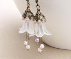 Long white flower earrings, pink and white bead earrings, white lucite flower jewelry, bridesmaid earrings