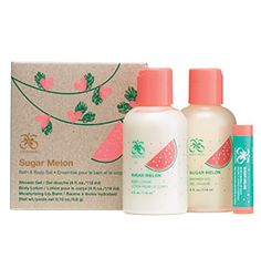 Sugar Melon Bath & Body Gift Set from Arbonne Canada. SOOOOOOOO delicious! Love this set. Perfect gift for anyone young or old.