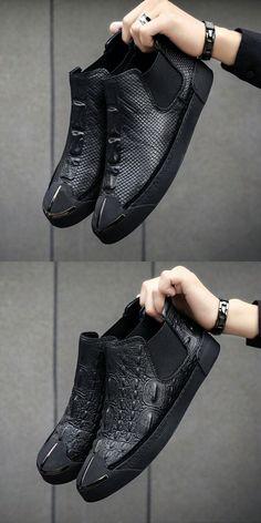 cheaper b7266 4dcce Prelesty Men Chelsea Boots Crocodile Snake Design Vintage Formal Footwear