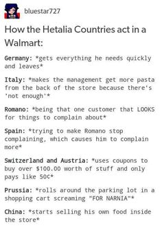 Walmart Headcanons, Axis Powers Hetalia LOL China! XD