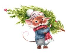 Watercolor illustration of a mouse, a symbol of carrying the Christmas tree a white background , Maus Illustration, New Year Illustration, Winter Illustration, Christmas Illustration, Illustrations, Watercolor Illustration, Christmas Drawing, Christmas Paintings, Christmas Art