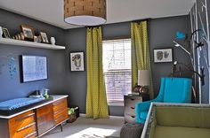 gray walls with pops of COLOR