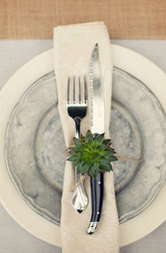 succulent pewter place setting