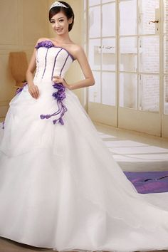 Flowers/Beading/Bow Sleeveless Train Ball-Gowns Organza Glamorous Strapless Lace-up Natural White Floor-length Chapel Wedding Dress Chapel Wedding Dresses, Wedding Dresses 2014, Luxury Wedding Dress, Cheap Wedding Dress, Bridal Dresses, Bridesmaid Dresses, Prom Dresses, Gown Wedding, Bridesmaids