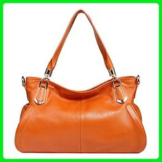 Epsion Women's Handbag Genuine Leather Tote Shoulder Bag Large-Capacity Removable Strap Brown - Totes (*Amazon Partner-Link)