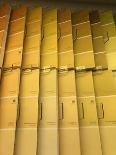 a bunch of paint chips, yellow Rainbow Aesthetic, Aesthetic Colors, Aesthetic Pictures, Aesthetic Yellow, Colour Board, Shades Of Yellow, Happy Colors, Mellow Yellow, Favorite Color