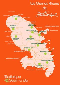 Carte des distilleries en Martinique St Vincent Grenadines, Water Island, Windward Islands, Sint Maarten, Grenada, Caribbean Sea, West Indies, Virgin Islands, Barbados