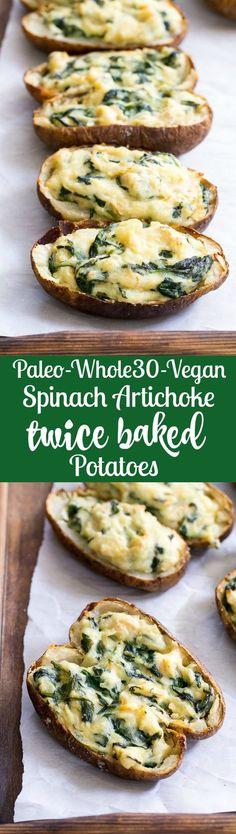 Paleo Spinach Artichoke Twice Baked Potatoes!!! - Low Recipe