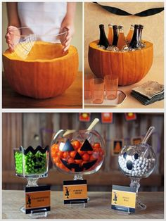 Balde de bebidas e baleiros no clima do Halloween