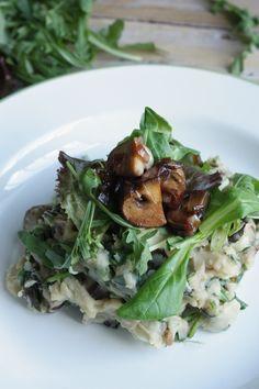 Oosterse sla-stamppot met champignons