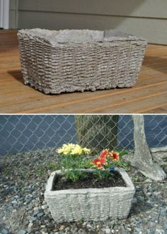 Diy concrete basket flower pot. These are a great idea. It would be cute to even spray paint them to the colors of your choice or to let your kids/grandkids paint them for your garden. I think I'll have the littles paint some this summer!