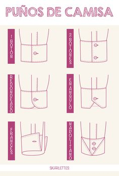 Clases de puños de camisa / Little Post                                                                                                                                                      Más Mccalls Patterns, Sewing Patterns, Shirt Sketch, Fashion Terminology, Sewing Collars, African Shirts For Men, Fashion Dictionary, Modelista, Shirt Cuff