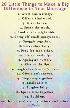 Best Love Quotes : FREE Printable: 20 Little Things to Make a Big Difference in your Marriage - Clu. - Quotes Sayings Godly Marriage, Marriage Relationship, Marriage And Family, Strong Marriage, Christian Marriage Quotes, Happy Marriage Quotes, Relationship Questions, Relationship Pictures, Marriage Goals