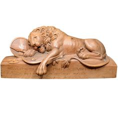 Monumental Lion of Lucerne Wood Carved Sculpture | From a unique collection of antique and modern sculptures