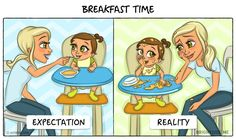 These Illustrations Perfectly Describe The Expectations & Reality Of How Life Changes After Becoming Parents! First Smile App - A home for recording your child's growth and share the memories. Cute Couple Comics, Couples Comics, Smile App, Nouveaux Parents, Expectation Reality, Young Parents, Baby Journal, Baby Gender, Illustrations