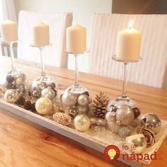 Fantastic Our Advent wreath with inverted wine glasses and Christmas balls .Fantastic Our Advent wreath with inverted wine glasses and Christmas balls . - - Advent wreath fantastic with inverted Handmade Christmas crafts - 15 Christmas Advent Wreath, Silver Christmas Decorations, Christmas Table Centerpieces, Christmas Candles, Christmas Balls, Christmas Home, Christmas Crafts, Christmas Glasses, Diy Advent Wreath
