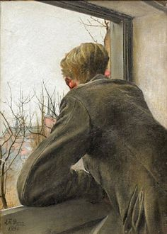 Sønnen Ole kigger ud af vinduet by Laurits Andersen Ring Danish - was one of the foremost Danish painters of the turn of the century, who pioneered both symbolism and social realism in Denmark (wiki) - (la clef des coeurs) Window View, Window Art, Window Panes, Figure Painting, Painting & Drawing, Irish Painters, Looking Out The Window, Figurative Art, Art Museum