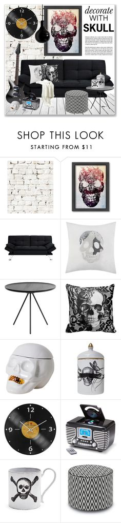 """""""decorate with skull"""" by nanawidia ❤ liked on Polyvore featuring Milton & King, Americanflat, Dorel, Dot & Bo, Rory Dobner, Crosley Radio & Furniture, Missoni Home and Mineheart"""