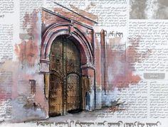 Aquarelle du carnet de voyage de Corinne Poplimont lors de son séjour au Maroc