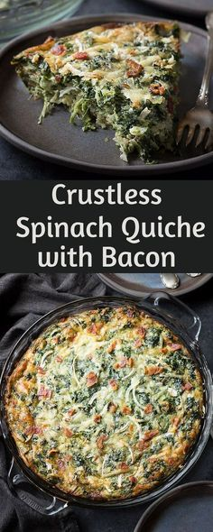 This low carb crustless spinach quiche recipe is a great keto or THM breakfast recipe.