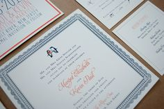 Modern and bright wedding invitation by Fourteen-Forty #modernbarnwedding #lovebirds #saddleriverinn - Invitation Photos by Fourteen-Forty   Photography by Reena Rose Photography  #modernwedding #barnwedding #navy #persimmon #fourteenforty www.1440nyc.com/margot-kevin-wedding-saddle-river-inn