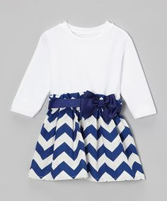 Take a look at this Royal Blue Bow Zigzag Dress - Infant & Toddler by Caught Ya Lookin' on #zulily today!