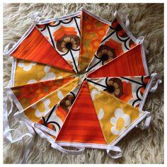 Handmade Vintage Fabric Bunting, 400cm 12 Flags, Weddings, Party, Garden