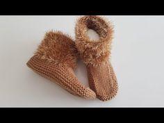Socialite-Home-Booties - Socken Knit Boots, Bootie Boots, Crochet Motifs, Crochet Patterns, Knitting Socks, Baby Knitting, Knitted Baby Clothes, Sunflower Tattoo Design, Silk Art