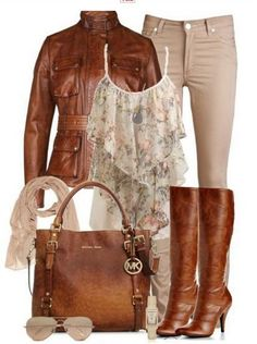 Daily Outfit Look, floral print top, brown leather jacket and brown knee-length boots