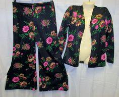 VTG 70's2 Piece Bell Bottom Pants & Jacket SetHippy FlowerDisco Mod Retro Top #Unbranded #Casual