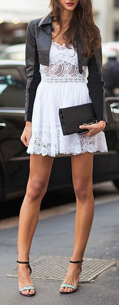 Fashion trends | White lace dress and crop leather jacket