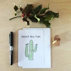 Carte de voeux Cactus illustrée by Fée Plaisir 3€